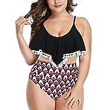 KLHHG Bikinis Mujeres Traje de baño de Cintura Alta Traje de baño Halter Sexy Volante Bikini Set Retro Trajes de baño de Talla Grande Traje de baño Bola (Color : Black, Size : Small Code)