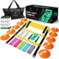 Shift Fitness Agility & Speed Ladder Training Set– Increase Speed with 20 ft/12 Rung Agility Ladder, 10 Cones, 5 Latex-Free Resistance Bands, Carry Bag, Speed Jump Rope and Footwork Drills Equipment