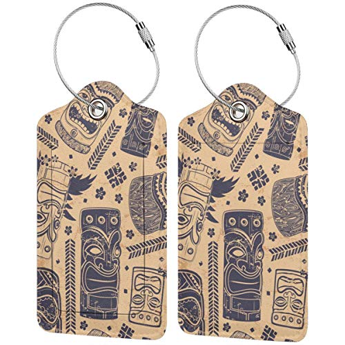 Vintage Aloha Tiki Personalized Leather Luxury Suitcase Tag Set Travel Accessories Luggage Tags