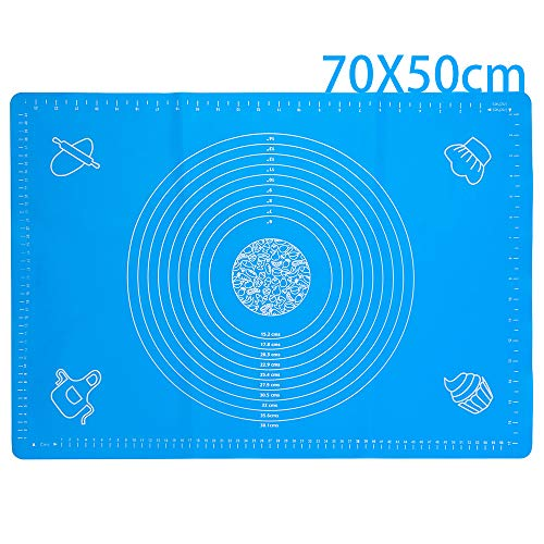 27.56'x19.69' ExtraLarge Silicone Baking Mats, Dough Mat,Kneading Pastry Mat with Measurements, Fondant Mat Non-Slip BPA-Free Heat Resistant Reusable for making cookies Cake Baking mat,Blue