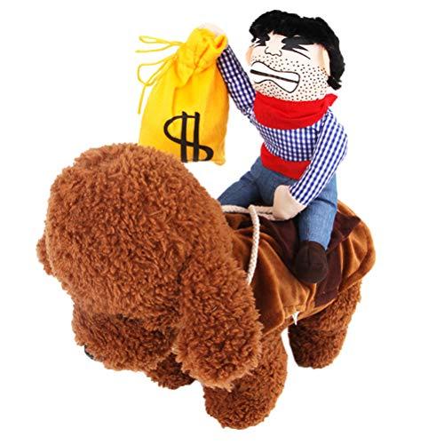 Amosfun Haustierkostüm, Cowboy-Outfit, Rider-Geldbörse, lustiges Haustierkostüm für Hunde, weicher Sattel gefüllt M Picture 1