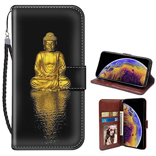 SoLucky iPhone X Case iPhone Xs Case iPhone 10 Wallet Case Golden Buddha PU Leather with Kickstand and Card Slots Wrist Strap Flip Case 1 Pack
