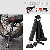 JFG RACING Portable Motorcycle Lift Stand,Foldable Motorcycle Stand Jack Lift with Handle Easy to Use,Universal for Dirt Pit Bike Street Bike Front Rear Wheel(Black)