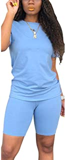 Women's Casual Two Piece Outfits Short Sleeve Bodycon Shorts Set Jogging Suit Summer