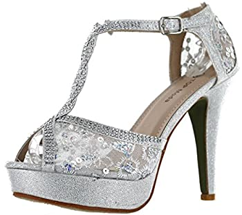 TOP Moda Hy-5 Open Toe Crochet High Heel Sandals Silver 7.5