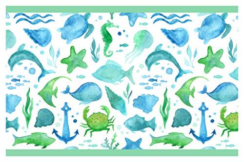 dekodino Kinderzimmer Bordüre Borte Unterwasserwelt Fische Schildkröten selbstklebend