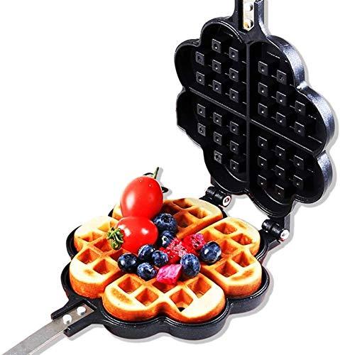 LBP Waffeleisen Waffeleisen Stovetop Guss Alluminium Waffel-Hersteller Ideal-Küche-Werkzeug, quadratisch Waffeleisen Edition, Herzwaffeleisen (Size : Heart)