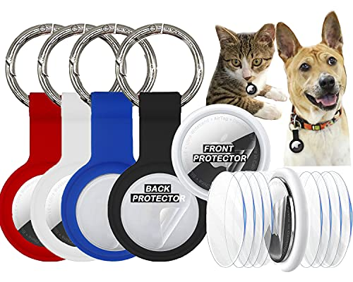 Premium Upgraded Airtag case Air Tags Holder 4 Pack + 4 Airtag Holder Protective Films Set Airtag Key Ring Keychain Luggage Bag Anti-Lost airtag Dog Cat Pet Collar Holder (Silicone)