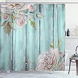 NR Tenda da Doccia,Rustic Shabby Country Chic Wood Rose,180 * 180 cm Resistente all'Acqua Tessuto in Poliestere Lavabile,con Ganci Inclusi