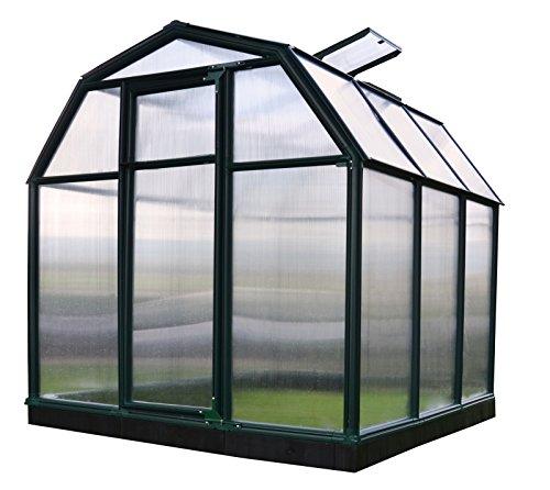 RION Gewächshaus Gartenhaus Kunststoff SMART 33 // 201x204x198 cm (LxBxH) // Treibhaus & Tomatenhaus zur Aufzucht + Fundament