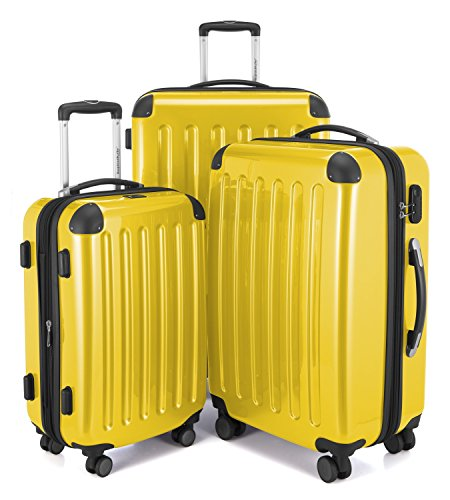 HAUPTSTADTKOFFER - Alex - Set of 3 Hard-side Luggages Trolley Suitces Expandable, (S, M & L), yellow