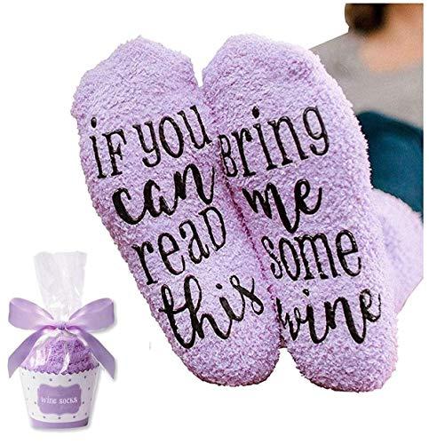 Lustige Socken für Frauen Mädchen, Wenn Sie Dies lesen können, bringen Sie Mir etwas Wein Bequeme Socken Geschenke für Liebhaber, Mutter, Frau oder Freund (Lila)