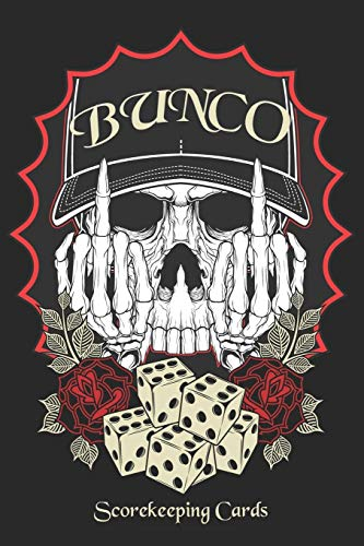 Bunco Scorekeeping Cards: Bunco Score Sheets Scoring Pad For Bunco Players Score Keeper Notebook Game Record Cub Calendar Tattoo Art Skull Flipping You Off Vintage Dice