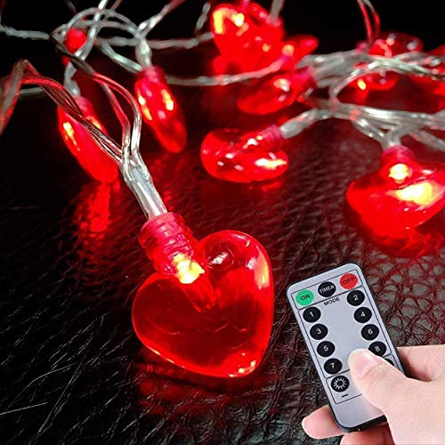 Valentine's Day Heart Shaped Battery Operated LED String Lights