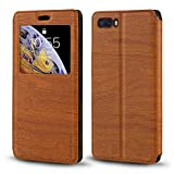 ZTE Nubia M2 Case, Wood Grain Leather Case with Card Holder