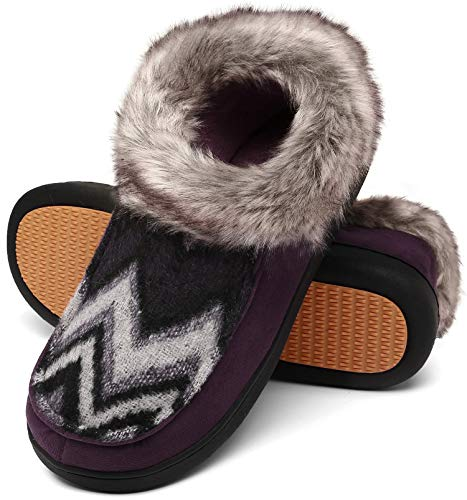 pantofole donna alte Mishansha Inverno Pantofole Donna Peluche Pantofole Comode Morbide Ciabatte Invernali Antiscivolo Memory Foam Ciabatte Calde Viola Gr.41