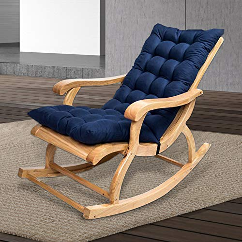 ODOMY Rocking Chair Cushion with Rubber Band and Buckle 47'' x 20'' Non-Slip High-Backed Pad Seat Mat Cushions for Garden Outdoor Patio Sun Lounger Furniture (Navy Blue)