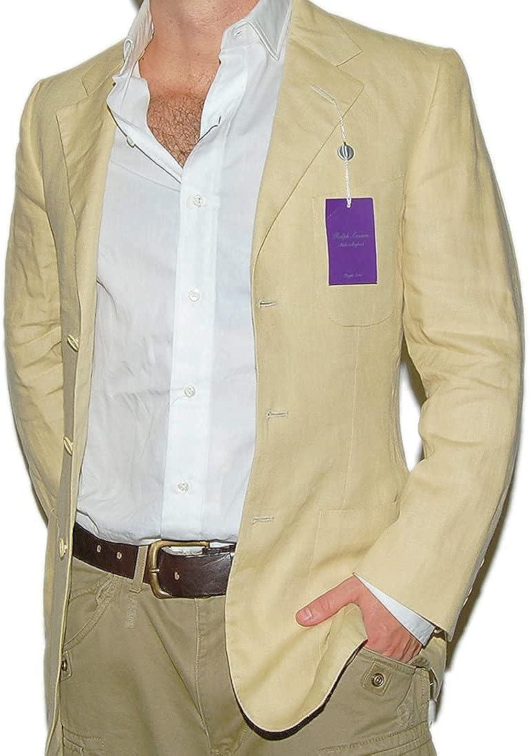 Ralph Lauren Purple Label Mens Linen Blazer Sport Coat Jacket Beige XS $2995