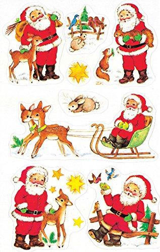 AVERY Zweckform Art. 4053 Aufkleber Weihnachten 15 Weihnachtsmänner mit Details (Weihnachtssticker aus Papier, selbstklebende Weihnachtsdeko für Karten, Geschenke, DIY) 3 Bogen mit je 8 Stickern