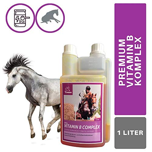 EMMA® Vitamin B komplex I B-Vitamine B1 B2 B6 B12 & Mineralstoffe I Vitamin B12 I Calcium I Immunsystem stärken Stoffwechsel Nervensystem I Vitamin Booster erhöhter Vitamin Bedarf Pferd 1L
