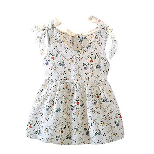 Kobay Mädchen Sommer Süßes Muster Kleinkind Baby Kinder Mädchen Ärmellose Bänder Bogen Blumenkleid Prinzessin Kleider