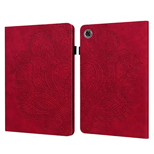 ShinyCase Red Embossed Paisley Flower PU Leather Flip Tablet Case for LenovoTab M8 HD/TB-8505X TB-8505F,Magnetic Smart Case Stand Shockproof Protection Cover for LenovoTab M8 HD/TB-8505X TB-8505F