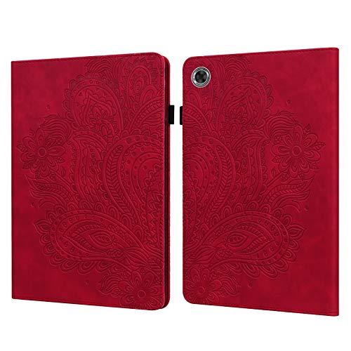 C/N DodoBuy - Funda para tablet Lenovo Tab M8 de 8 pulgadas HD, diseño de pavo real, cierre magnético, piel sintética, función atril, tarjetero, color rojo