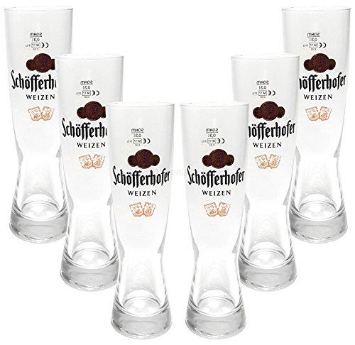 Schöfferhofer Weizen Bierglas Glas Gläser-Set - 6x Biergläser 0,5l geeicht