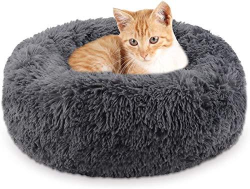 Legendog Katzenbett , rutschfest Waschbar Hautierbett , Plüsch Flauschig Katzensofa ,Tierbett Bett in Doughnut-Form für Katzen und Hunde