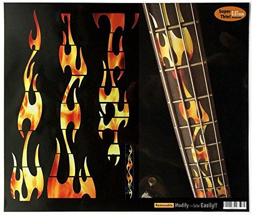 Calcomanías de diapasón con incrustaciones de pegatinas para bajo, llamas de fuego, fuego real
