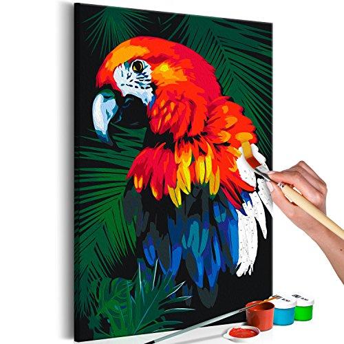 murando - Malen nach Zahlen Papagei 40x60 cm Malset mit Holzrahmen auf Leinwand für Erwachsene Kinder Gemälde Handgemalt Kit DIY Geschenk Dekoration n-A-0189-d-a