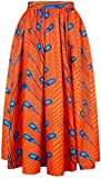 EMILYLE Femme Jupe Longue Imprimé Style Africain Traditionnel Jupe Boule Vintage Floral Multicolore, Orange Plume S/M