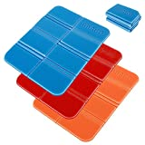 3Pcs Insulated Folding Foam Sit Mat Portable Waterproof Moisture-Proof Multimat Foldable Thermal Seat Pad Cushion for Outdoor Camping Hiking Walking Park Picnic (Blue+Red+Orange)