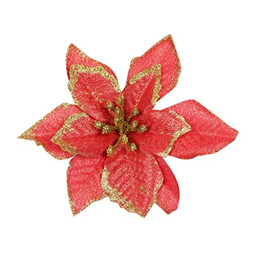 Jeash 12 Pcs /20Pcs Glitter Poinsettia Christmas Tree Ornament Artificial Wedding Christmas Artificial Flowers Christmas Tree Wreaths Decor Ornament, 5.11inch (Red, A 12PC)
