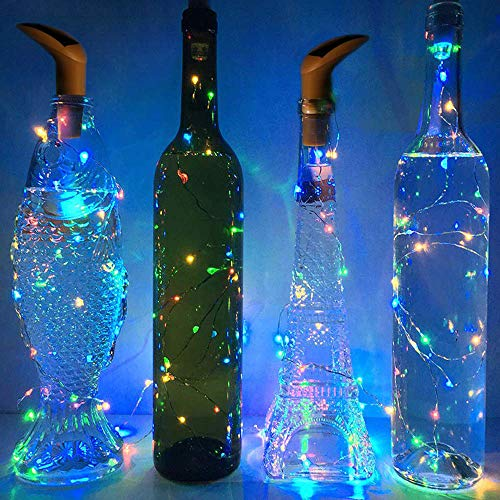 SFgift Set of 6 Pack Solar Powered Wine Bottle Lights, 10 LED Multi Color Light, Cork Shaped Lights for Wedding Christmas, Outdoor, Holiday, Garden, Patio Pathway Decor
