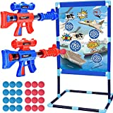 soulern Shooting Game Toy for Kids 6 7 8 9 10+ Years Old, 2-Player Toy Guns Set with Standing Shooting Target and 24 Foam Balls, Indoor Activity Game for Boys and Girls, Compatible with Nerf Toys