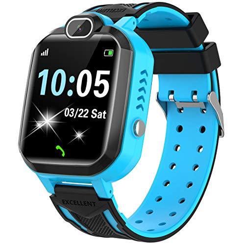 Smartwatch Niños - Juego De Musica Conversación Bidireccional Por Voz Reloj Inteligente Smart Watch SOS Cámara Pantalla táctil HD Deporte Reloj de Pulsera Digital para Niños De 4-12 Años (Azul)