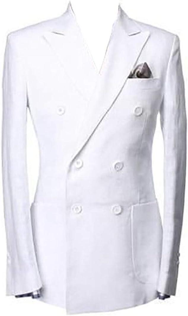 Mens Beach White Linen Double Breasted Summer Prom Blazer Suit Jacket Coat Blazer