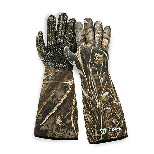 TIDEWE Decoy Gloves with Silicone Textured Surface, Waterproof Insulated 5mm Neoprene Men Hunting Gloves, Elbow Length Waterfowl Realtree MAX5 Camo Duck Decoy Gloves(Size XL)