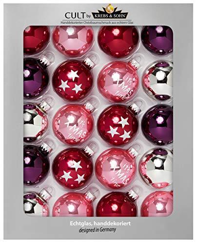 HEITMANN DECO Krebs & Sohn 20er Set Glas Christbaumkugeln - Weihnachtsbaum Deko zum Aufhängen - Weihnachtskugeln 5,7 cm - Rot Rosa Silber