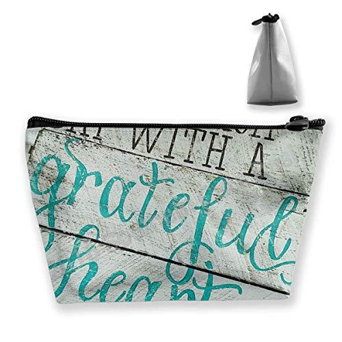 Beginnen Sie jeden Tag mit einem dankbaren Herzen Holzschilder mit Sprüchen Bleistiftetasche Reißverschlusstasche Münztasche Schminktasche Tasche Aufbewahrungstaschen Große Kapazität