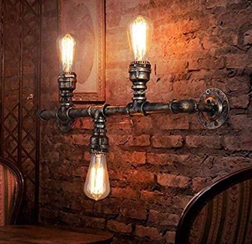 HHJJ Wall Lamps, Retro European Vintage Wall Light, Industrial Retro Metal Wall Lamp Steampunk Wrought Iron Wall Light 3 Light,Copper,A Discover The Light Hallway Wall Lantern LAMP-82912Q2M6V