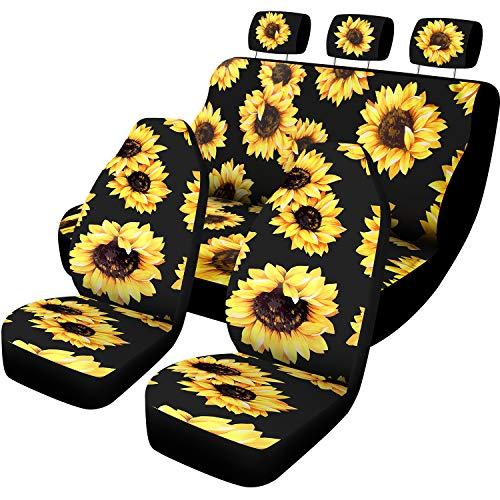 BBTO 7 Pieces Sunflower Car Accessories Set Sunflower Car Seat Covers for Auto Car Decoration Arkansas