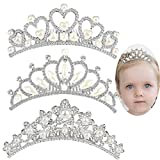 ANBALA Small Tiara Crown with Hair Comb, 3 Pack Mini Tiara Crown Princess Crystal Shiny Hair Accessories for 2 3 4 5 6 7 8 9 Years Girls Hair Dectoration Styling Cute Hair Accessories (3 Styles)