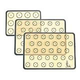 SUPER KITCHEN Backmatte aus Silikon für Macaron Keks - 3-Stück Set (Grau), Backunterlage Silikonmatte Backfolie Backpapier Backzubehör, Antihaft Matte für Makronen/Brot/Pizza, 42x30 cm...