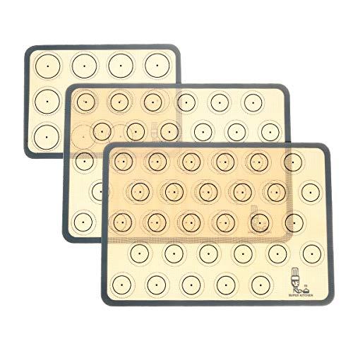 SUPER KITCHEN Backmatte aus Silikon für Macaron Keks - 3-Stück Set (Grau), Backunterlage Silikonmatte Backfolie Backpapier Backzubehör, Antihaft Matte für Makronen/Brot/Pizza, 42x30 cm Tischset