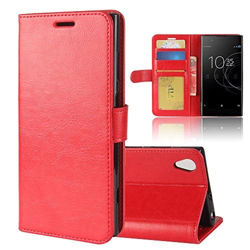 GARITANE Hülle für Sony Xperia XA1 Plus/G3412 G3421,Handyhülle Hülle mit Magnet Ständer Kartenfächer Schutzhülle Retro Lederhülle für Sony Xperia XA1 Plus/G3412 G3421 (rot)