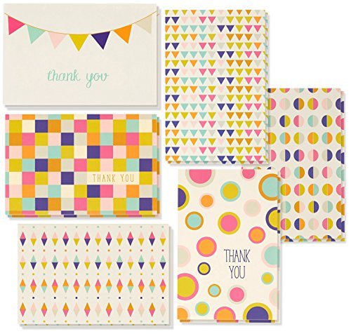 Thank You Cards Bulk - 48-Pack Thank You Cards, 6 Retro Geometric Designs, Thank You Notes, Envelopes Included, 4 x 6 Inches