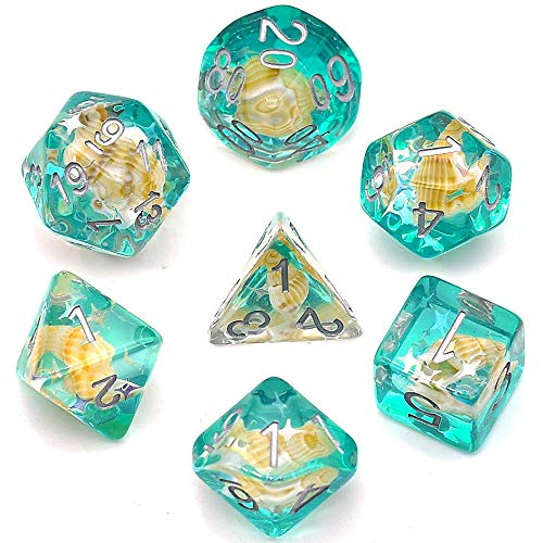 cusdie Green Shells Dice Polyhedral Dice Sets for Dungeons and Dragons Playing DND Dice