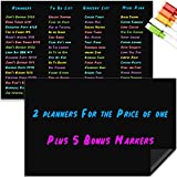 Hendson Magnetic Dry Erase Blackboard with Chalkboard Design 2-Pack - 11 x 17 Inches Magnetic Sheets for Kitchen Fridge - Magnet Refrigerator Board Organizer - to Do List, Grocery List, Menu, Chores